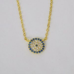 Jewelry - evil eye protection necklace gold pave zircons
